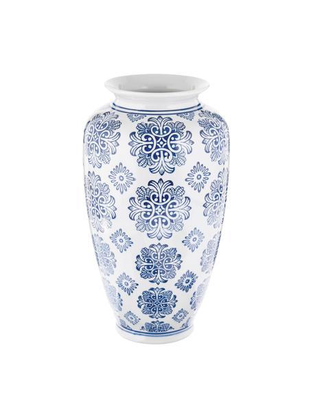 Jarrón de cerámica Sara, Cerámica, Azul, blanco, Ø 18 x Al 36 cm