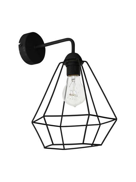 Wandleuchte Basket im Industrial-Style, Lampenschirm: Nickel, lackiert, Gestell: Nickel, lackiert, Schwarz, 25 x 38 cm