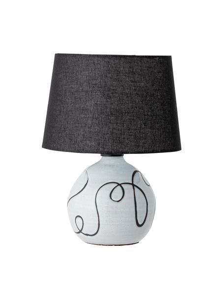 Moderne Keramik-Tischlampe Coany, Lampenschirm: Leinen, Lampenfuß: Keramik, Schwarz, Weiß, Ø 31 x H 40 cm