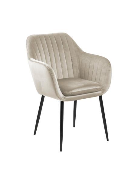 Krzesło tapicerowane z aksamitu z podłokietnikami Emilia, Tapicerka: aksamit poliestrowy Dzięk, Nogi: metal lakierowany, Beżowy, czarny, S 57 x G 59 cm