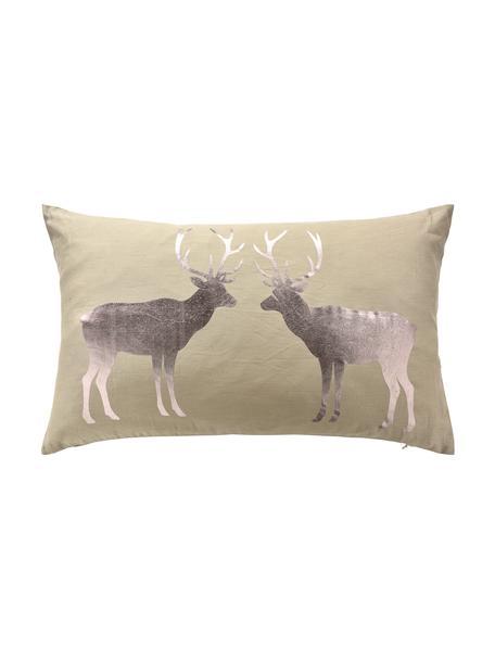 Kissenhülle Forrest mit glänzendem Hirsch Motiv, 55% Leinen, 45% Baumwolle, Beige, Bronze, 35 x 60 cm