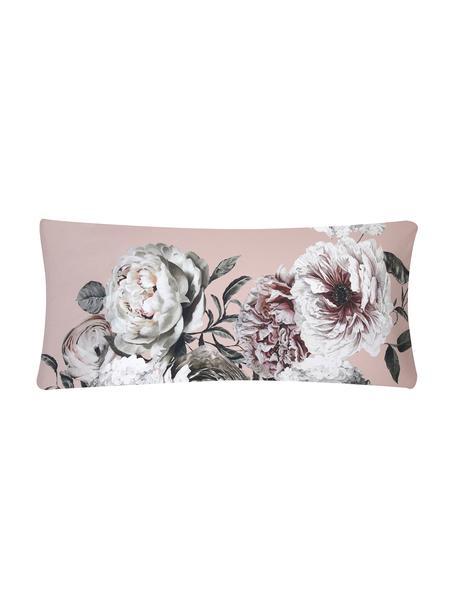 Funda de almohada de satén Blossom, Rosa, An 45 x L 110 cm