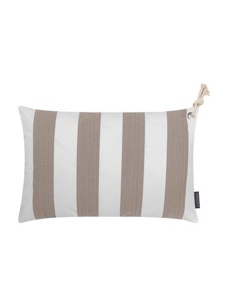 Gestreifte Outdoor-Kissenhülle Santorin in Taupe/Weiß, 100% Polypropylen, Taupe, gebrochenes Weiß, 40 x 60 cm