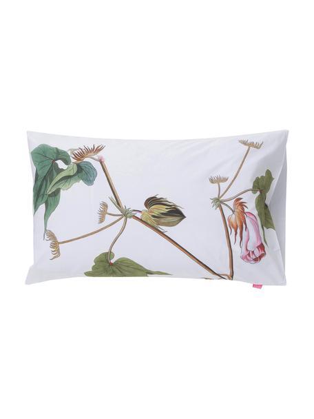 Fundas de almohada Blooming, 2uds., Algodón, Blanco, tonos verdes y rosas, An 50 x L 75 cm