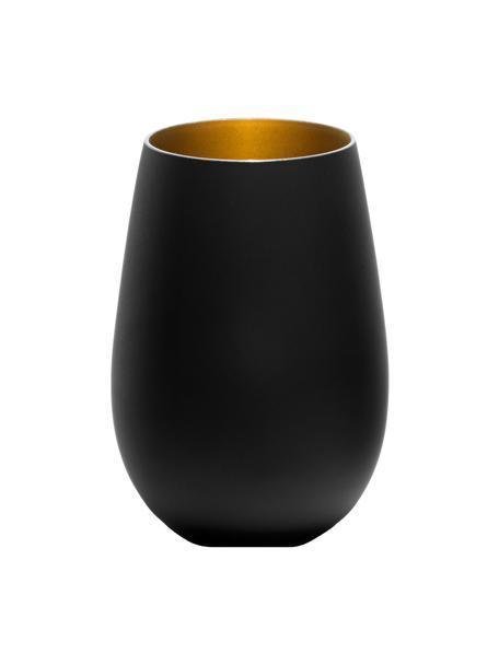 Bicchiere tipo long drink in cristallo Elements 6 pz, Cristallo rivestito, Nero, ottonato, Ø 9 x Alt. 12 cm