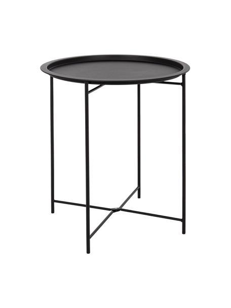 Mesa auxiliar para exterior de metal Wissant, Acero con pintura en polvo, Negro, Ø 46 x Al 52 cm