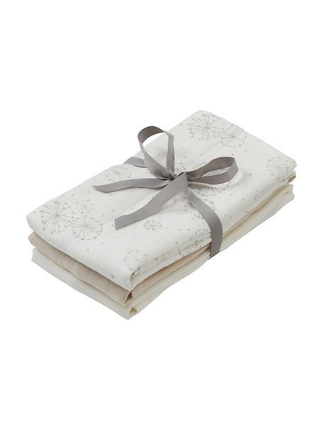 Mulltücher-Set Dandelion aus Bio-Baumwolle, 3-tlg., 100% Biobaumwolle, GOTS-zertifiziert, Weiß, Beige, Creme, 70 x 70 cm