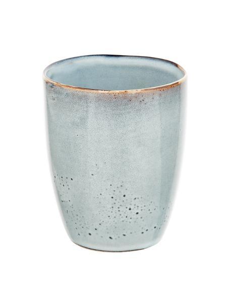 Ręcznie wykonany kubek Thalia, 2 szt., Kamionka, Niebieskoszary, Ø 9 x W 11 cm