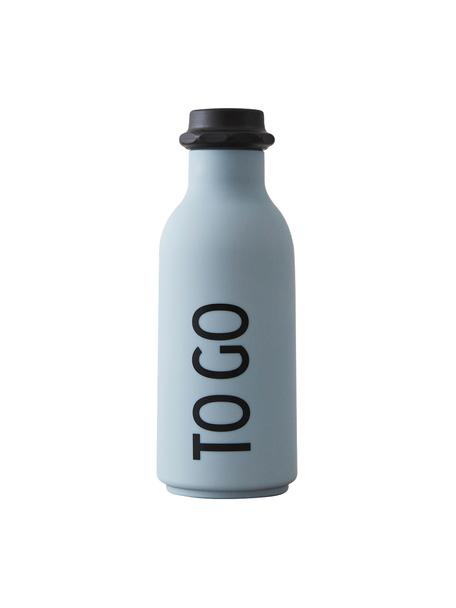 Bottiglia blu con scritta TO GO, Coperchio: polipropilene, Azzurro opaco, nero, Ø 8 x Alt. 20 cm
