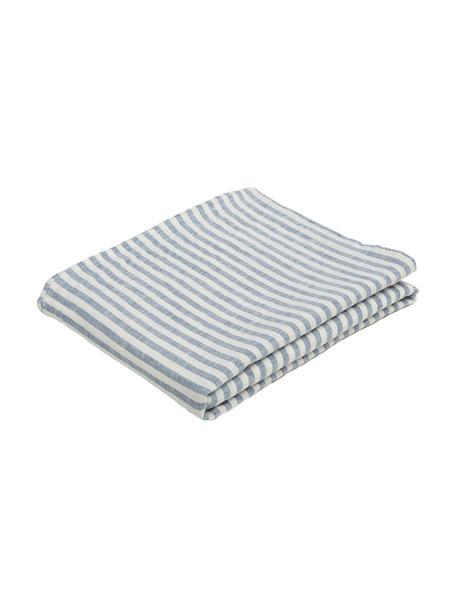 Gestreifte Leinen-Tischdecke Solami, Leinen, Hellblau, Weiß, Für 6 - 8 Personen (B 150 x L 250 cm)