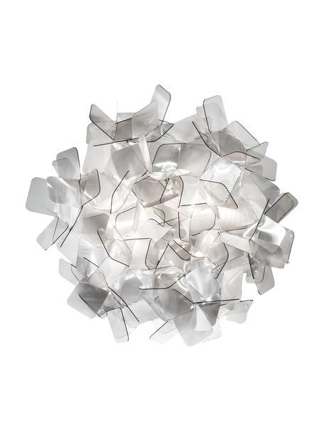 Plafón / Aplique artesanal Clizia, Tecnopolímeros Lentiflex®, deflector de luz y Cristalflex®, irrompibles, flexibles, Gris claro, transparente, Ø 53 x Al 20 cm