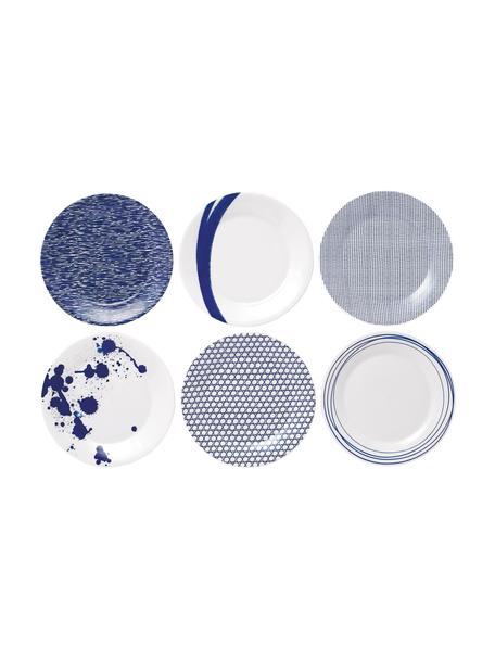 Gemusterte Porzellan-Frühstücksteller Pacific, 6er-Set, Porzellan, Weiss, Blau, Ø 23 cm