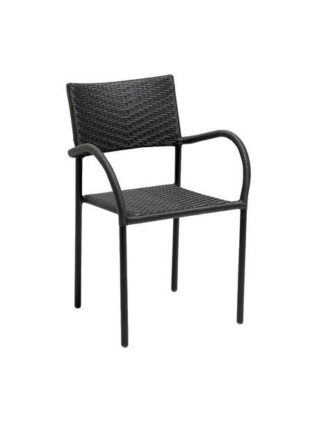 Garten-Armlehnstuhl Loke mit Polyrattan, Beine: Aluminium, beschichtet, Sitzfläche: Polyrattan, Schwarz, matt, B 53 x T 60 cm