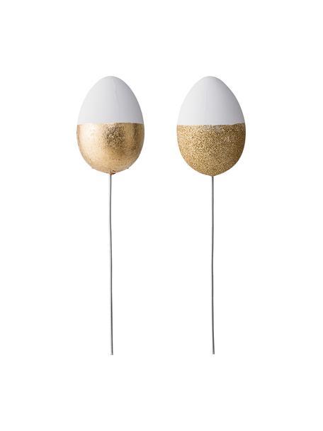 Set uova decorative Glitter, 2 pz., Materiale sintetico, Bianco, dorato, Ø 5 x A 22 cm