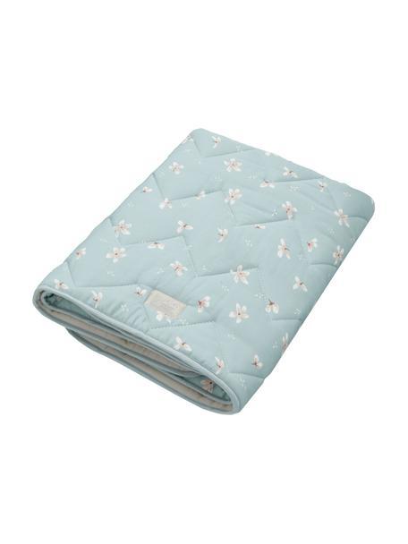 Cubrecolchón cuna de algodón ecológico Wildflower, Funda: 100%algodón ecológico, c, Azul claro, crema, rosa, An 100 x L 100 cm