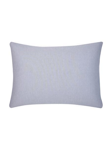 Funda de almohada de algodón Ellie, Blanco, azul oscuro, An 50 x L 70 cm