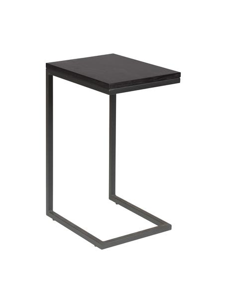 Beistelltisch Pia in Schwarz, Tischplatte: Eichenholz, lackiert, Gestell: Metall, pulverbeschichtet, Schwarz, B 40 x T 30 cm