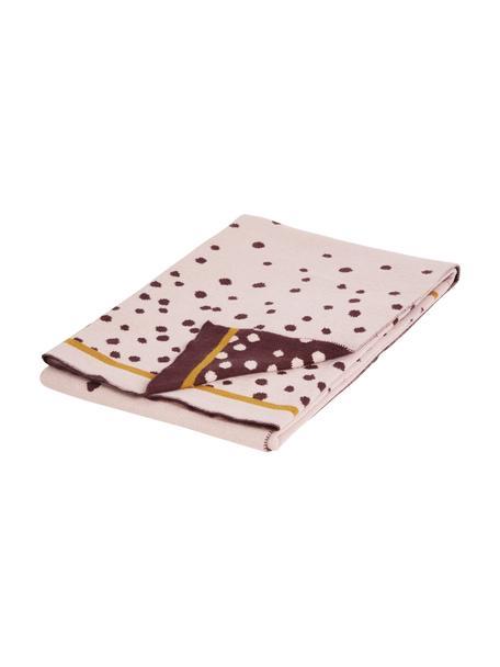 Koc dzianinowy Happy Dots, Blady różowy, S 80 x D 100 cm