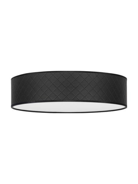 Plafondlamp Trece van kunstleer, Lampenkap: kunstleer, Diffuser: papier, Zwart, Ø 40 x H 11 cm