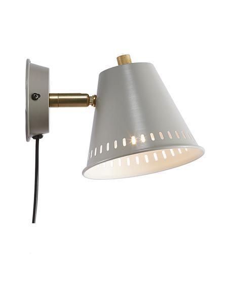 Retro wandlamp Pine met stekker, Lampenkap: gecoat metaal, Decoratie: gecoat metaal, Grijs, messingkleurig, 14 x 20 cm