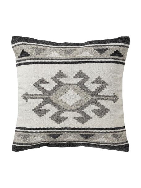 Federa arredo etnica in lana grigio scuro/grigio Dilan, 80% lana, 20% cotone, Tonalità grigie, Larg. 45 x Lung. 45 cm