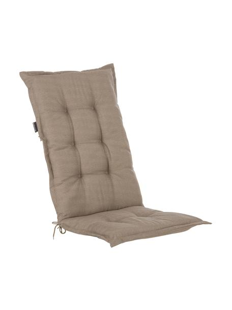 Einfarbige Hochlehner-Stuhlauflage Panama in Taupe, Bezug: 50% Baumwolle, 50%Polyes, Taupe, 50 x 123 cm