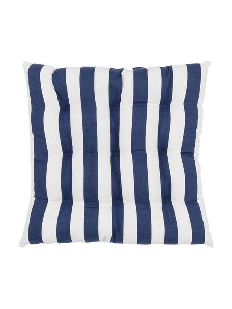 Cojín de asiento a rayas Timon, Funda: 100%algodón, Azul oscuro, blanco, An 40 x L 40 cm