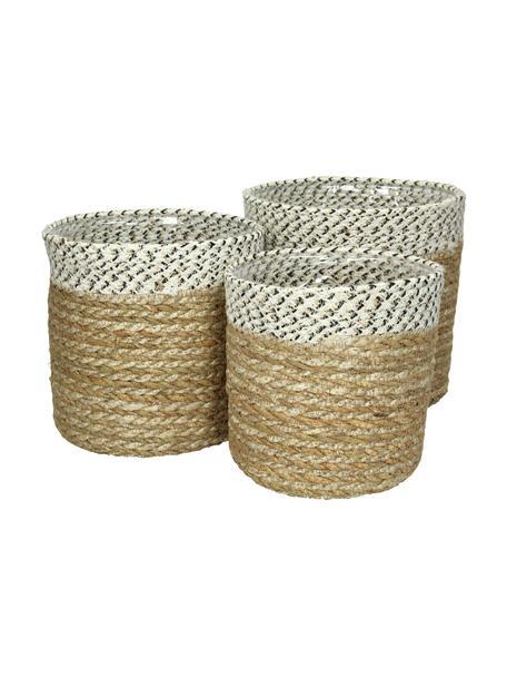 Komplet osłonek na doniczkę z trawy morskiej  Sola, 3 szt., Trawa morska, Trawa morska, biały, czarny, Komplet z różnymi rozmiarami