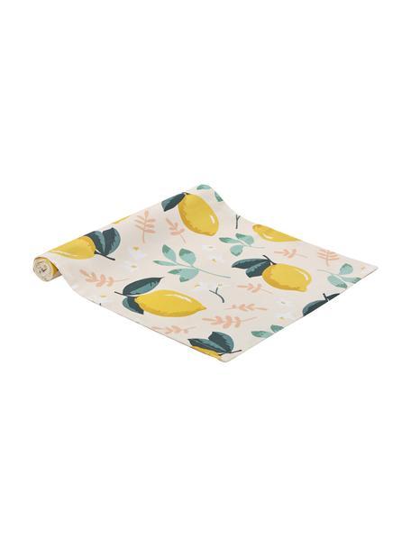 Bieżnik z bawełny Lemon, Bawełna, Beżowy, żółty, zielony, S 40 cm x D 145 cm