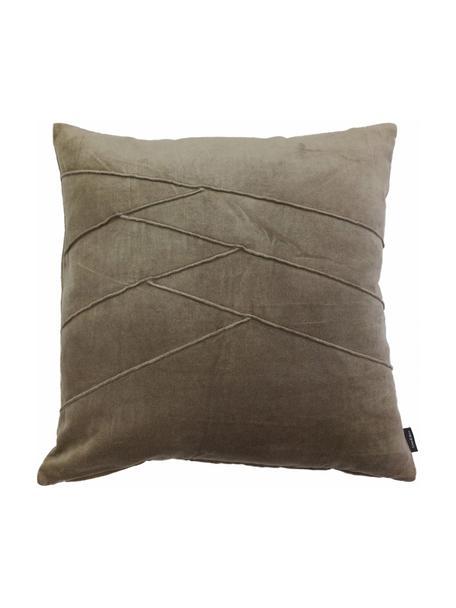 Poduszka z aksamitu z wypełnieniem Pintuck, Tapicerka: 55% rayon, 45% bawełna, Taupe, S 45 x D 45 cm