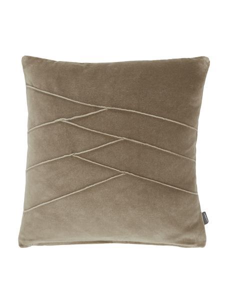 Fluwelen kussen Pintuck in bruin met verhoogd structuurpatroon, met vulling, Weeftechniek: fluweel, Bruin, 45 x 45 cm