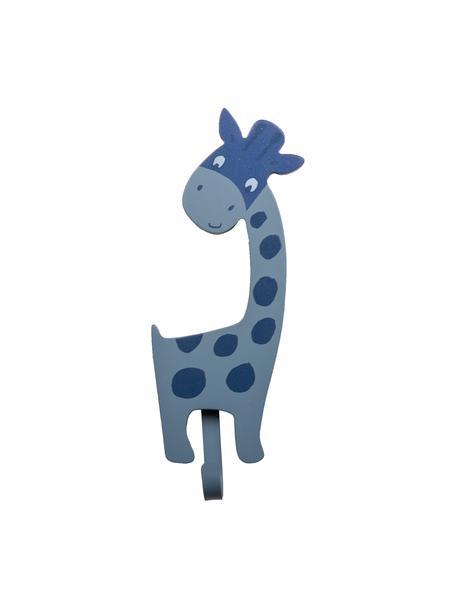 Wandhaken Giraffa, Mitteldichte Holzfaserplatte (MDF), Metall, Blau, 9 x 23 cm