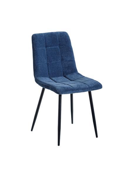 Silla tapizada Smooth, Tapizado: 100%poliéster, Estructura: tablero de fibras de dens, Patas: hierro, Azul, An 43 x Al 88 cm