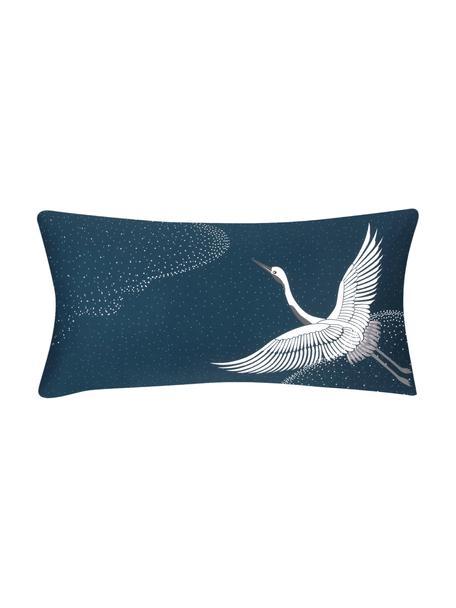 Poszewka na poduszkę z satyny bawełnianej Yuma, 2 szt., Niebieski, biały, szary, S 40 x D 80 cm