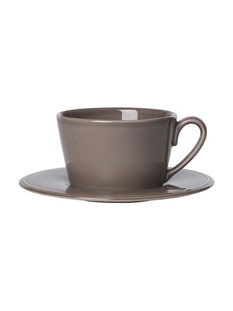 Filiżanka do herbaty ze spodkiem Constance, Kamionka, Brązowy, Ø 19 x W 8 cm