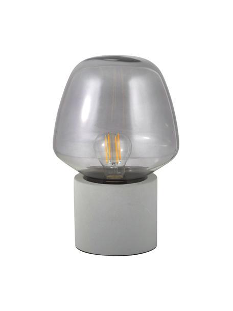 Mała lampa stołowa z betonową podstawą Christina, Szary beton, szary, transparentny, Ø 20 x W 30 cm