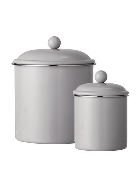 Komplet pojemników do przechowywania Clone, 2 elem., Metal lakierowany, Jasny brązowy, Komplet z różnymi rozmiarami