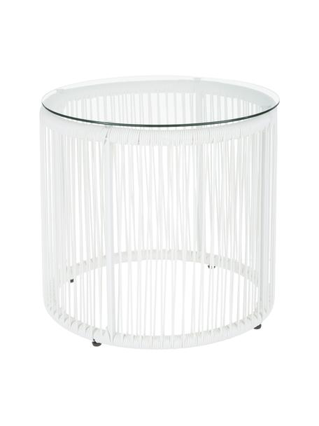 Bijzettafel Bahia, Tafelblad: glas, dikte, Frame: gepoedercoat aluminium, Wit, Ø 50 x H 45 cm