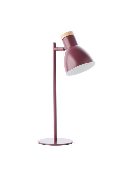 Bureaulamp Venea met houten decoratie, Lampenkap: metaal, Lampvoet: metaal, Decoratie: hout, Donkerroze, bruin, Ø 15 cm
