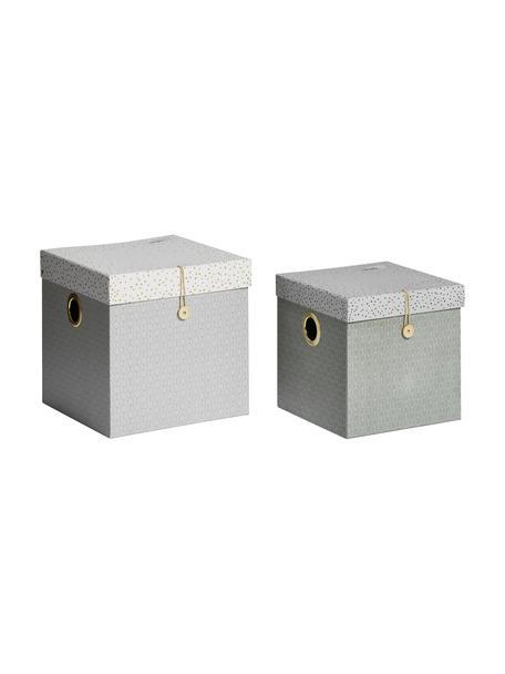 Set 2 scatole portaoggetti Square, Cartone laminato, Grigio, Set in varie misure
