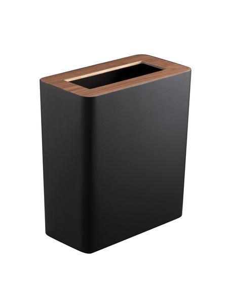 Papiermand Rin van gelakt staal, Deksel: hout, Zwart, donkerbruin, 28 x 30 cm