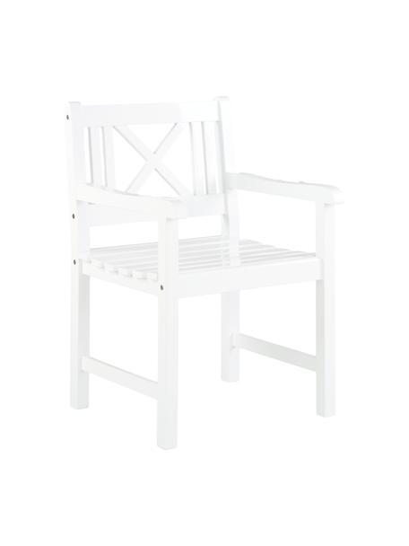 Krzesło ogrodowe z podłokietnikami  z drewna Rosenborg, Drewno mahoniowe, lakierowane, Biały, 59 x 89 cm