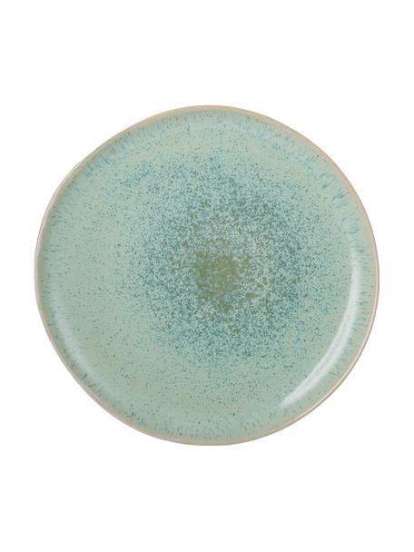 Handbemalter Speiseteller Areia mit reaktiver Glasur, Steingut, Mint, Gebrochenes Weiß, Beige, Ø 28 cm