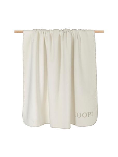 Manta doble cara de tela polar Uni Doubleface, 58%algodón, 35%poliacrílico, 7%poliéster, Beige, crema, An 150 x L 200 cm