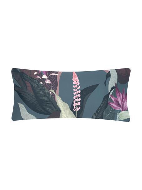 Funda de almohada de satén Flora, Multicolor, gris oscuro, An 45 x L 110 cm
