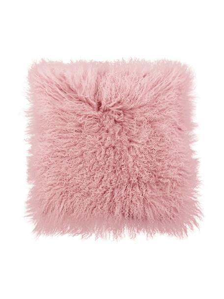 Poszewka na poduszkę ze skóry jagnięcej o długim włosiu Ella, Różowy, S 40 x D 40 cm