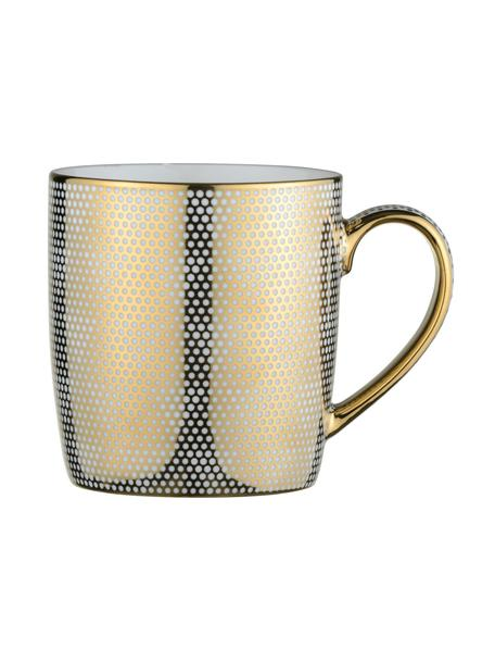 Tassen Dots mit goldenem Dekor, 4 Stück, Porzellan, Weiß, Goldfarben, Ø 9 x H 10 cm