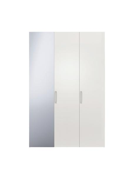 Witte kledingkast Madison, met spiegeldeur, Frame: panelen op houtbasis, gel, Wit, 152 x 230 cm