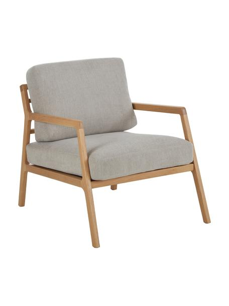 Sessel Becky aus Eichenholz, Bezug: Polyester Der hochwertige, Gestell: Massives Eichenholz, Webstoff Grau, B 73 x T 90 cm