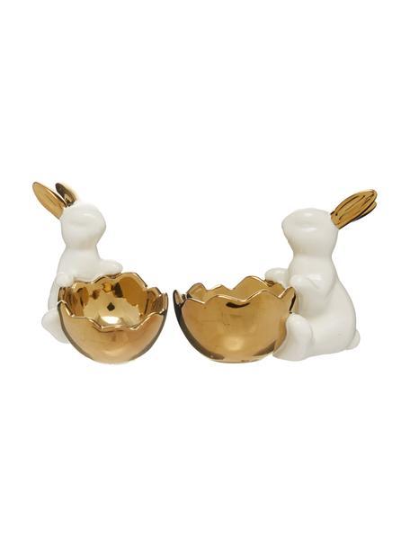 Eierbecher-Set Bunny, 2-tlg, Porzellan, Weiß, Goldfarben, Set mit verschiedenen Größen